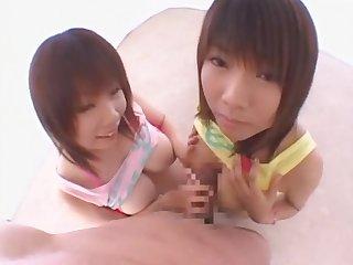 Exotic Japanese chick Masami Abe, Rika Momoi in Fabulous Teens, Threesome JAV scene